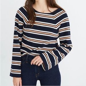 Madewell Metallic Blue White Stripe Sweater XS